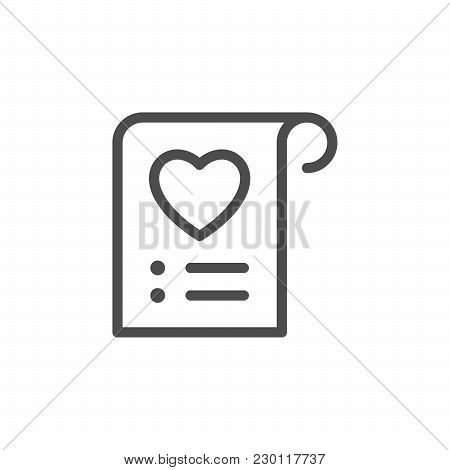 Wishlist Line Icon Isolated On White. Vector Illustration