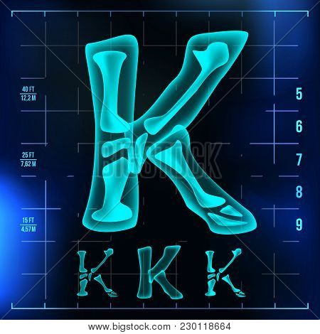 K Letter Vector. Capital Digit. Roentgen X-ray Font Light Sign. Medical Radiology Neon Scan Effect.