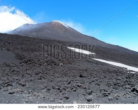 Mount Etna, Abandoned Fuming Crater In Sicily At Italy, Landscape Of Tallest Active Volcano In Europ