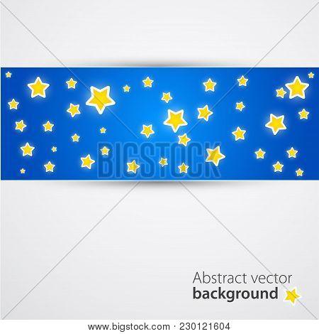 Cartoony Style Starry Night Banner Design. Vector Illustration