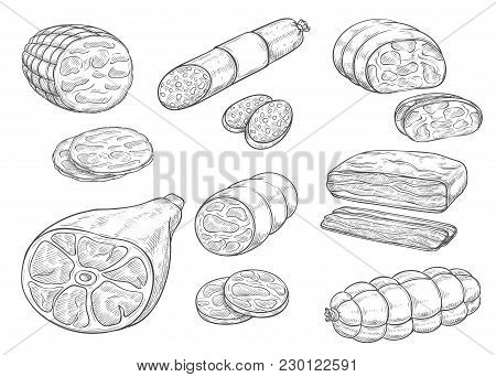 Meat And Sausages Sketch Icons. Vector Isolated Meat Delicatessen Of Curry Wurst Or Salami And Peppe