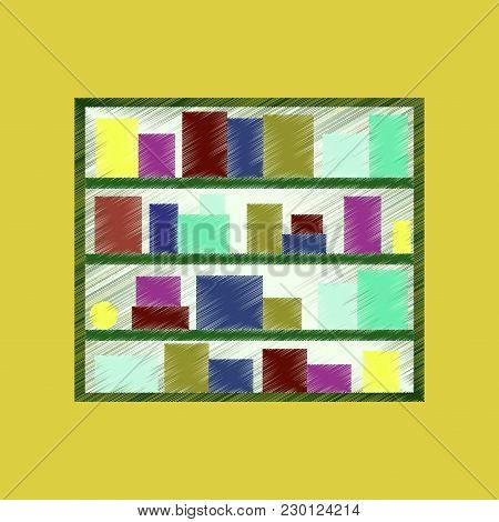Flat Shading Style Icon Bookshelf Furniture Education