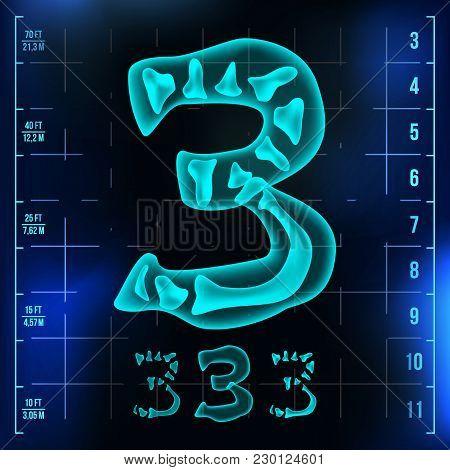 3 Number Vector. Three Roentgen X-ray Font Light Sign. Medical Radiology Neon Scan Effect. Alphabet.
