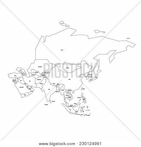 Political Map Of Asia. Simplified Thin Black Wireframe Outline With National Borders And Country Nam