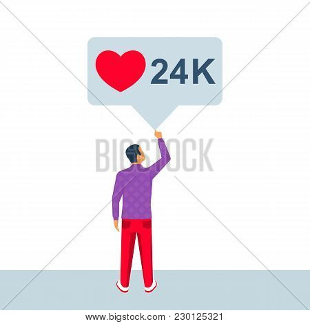 Social Media Bubble. Young Man In A Social Network. Friends Likes And Comments. Vector Illustration