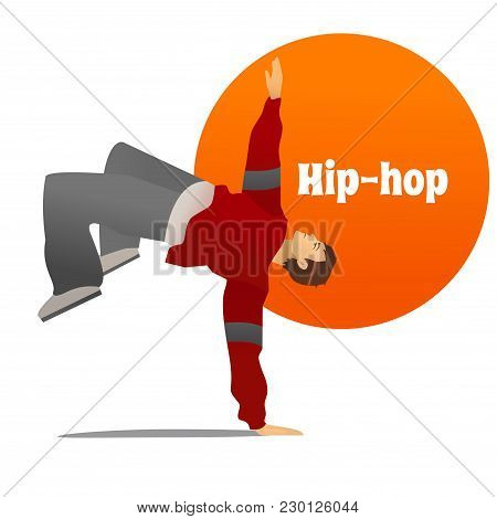 Hip-hop Dancer. Dancing Man In Cartoon Style For Fliers Posters Banners Prints Of Dance School And S