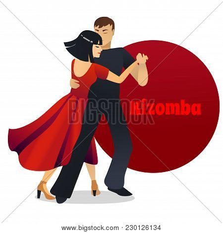 Kizomba Dancers. Dancing Couple In Cartoon Style For Fliers Posters Banners Prints Of Dance School A