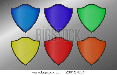 Set Of Colored Shields. Vector Shields With A Black Outline.