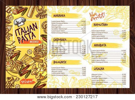 Italian Pasta Cuisine Menu Design Template. Vector Price For Marinara Penne, Carbonara Fettuccine Or