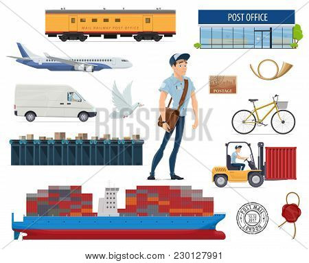Post Mail Delivery And Postman Vector Flat Icons For Postage Services. Isolated Symbols Of Post Offi
