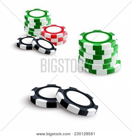 Casino Poker Gambling Chips Or Bet Tokens. Vector Isolated Poker Game Green, Red And Black Chips Pil
