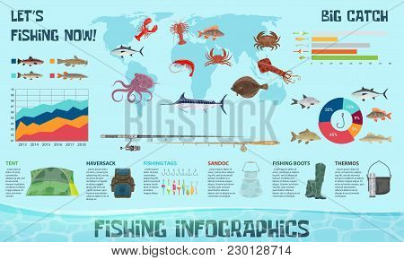 Fishing Sport And Fish Catch Infographics Design Template. Vector Diagrams On Fish Species In Ocean