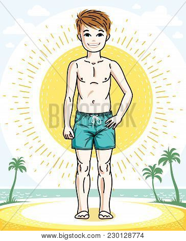 Beautiful Little Boy Cute Child Standing In Colorful Stylish Beach Shorts. Vector Kid Illustration.
