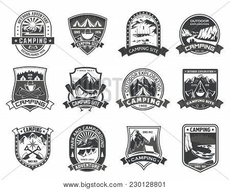 Camping Or Mountain Camp Adventure Icons Templates For Mountaineering Or Hiking Sport And Nature Exp