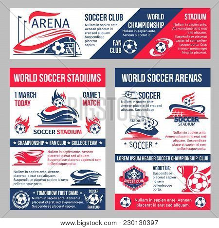 Soccer Cup Match Or Football Championship Posters And Banner Templates. Vector Design Of Soccer Club