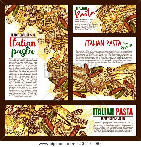 Italian Pasta Sketch Posters And Banners For Traditional Italy Cuisine Spaghetti And Macaroni. Vecto