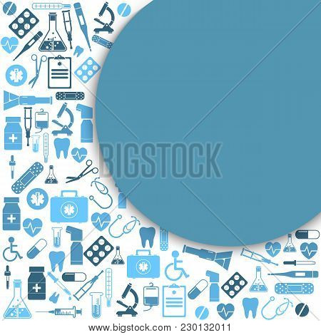 Medical Background. Illustration. Health Care And Medical Research. Space For Text. Medical Template