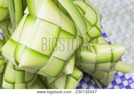 Ketupat Or Dumpling Rice. A Rice Is Cook In Natural Casing Made From Young Coconut Leaves. Most Icon