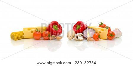 Food Isolated On White Background. Horizontal Photo.