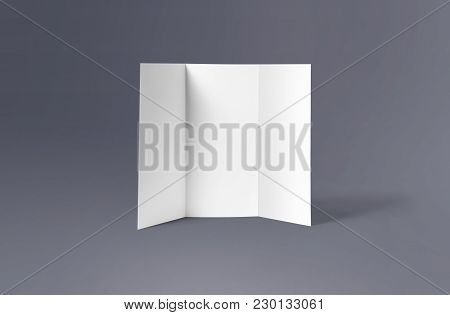 Tri-fold Brochure Mock-up. Blank Brochure White Template Paper On Background. Three Fold Paper Broch