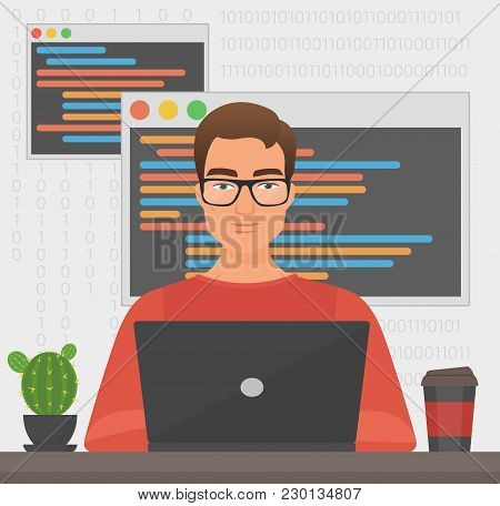 Man Programmer Is Working With Laptop Code. Programmer Coding