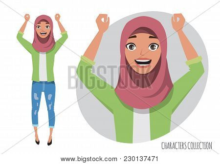 Arab Women Character Is Happy And Smiling. Cartoon Style Woman. Emotion Of Joy And Glee On The Women