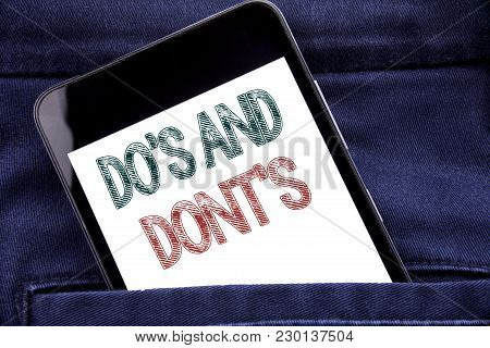 Handwriting Announcement Text Showing Do S And Do Not Donts. Business Concept For Guide Allowed Writ