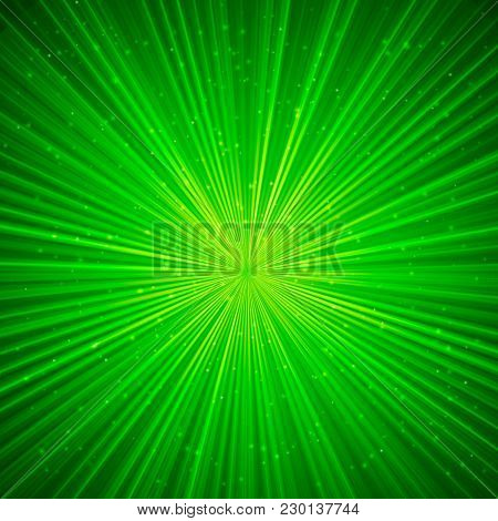Glowing Lines Stretching To Infinity.  Rays Of Light. Green St. Patrick's Day Abstract Vector Backgr