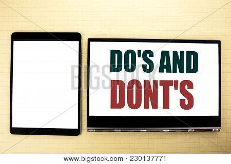 Conceptual Hand Writing Text Caption Inspiration Showing Do S And Do Not Donts. Business Concept For