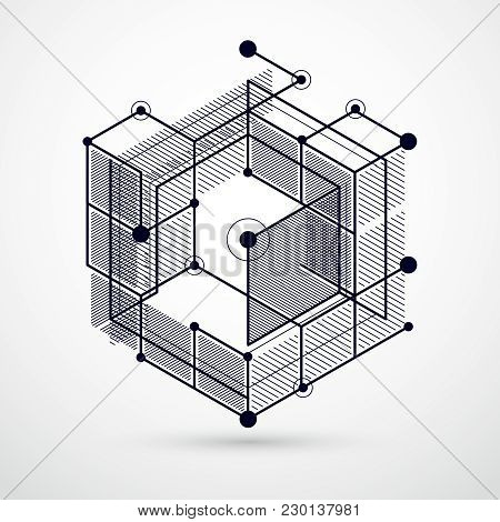 Vector Of Modern Abstract Cubic Lattice Lines Black And White Background. Layout Of Cubes, Hexagons,