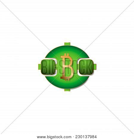 Vector Illustration Abstract Symbol Consisting Of Geometric Shapes With A Bitcoin Icon In The Middle