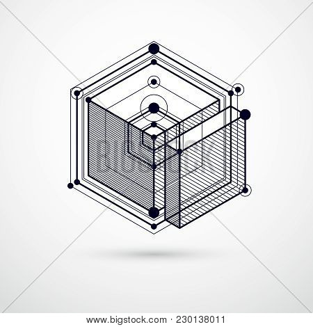 Mechanical Scheme, Black And White Vector Engineering Drawing With 3d Cubes And Geometric Elements.