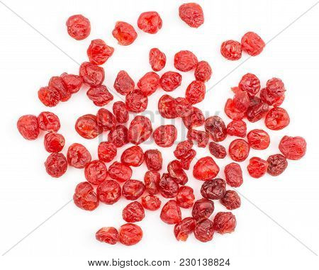 Red Dry Cherries Set Top View Isolated On White Background