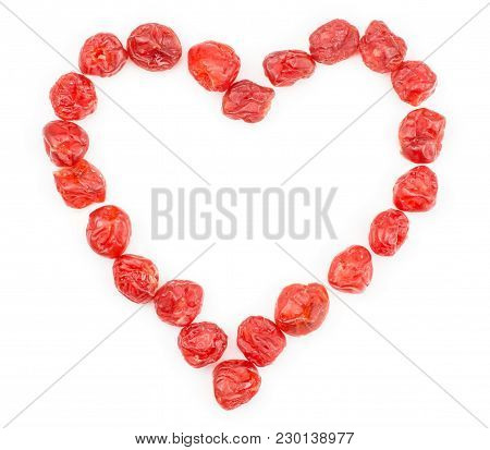 Red Dry Cherries Like A Heart Isolated On White Background Love Symbol