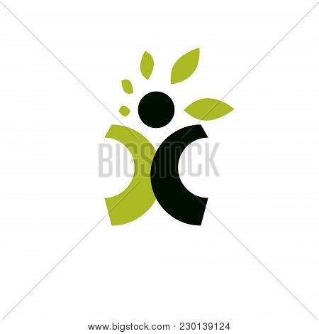 Vector Illustration Of Happy Abstract Human With Reaching Up. Go Green Idea Creative Logo. Ecotouris