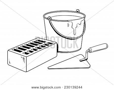 Mortar Brick Trowel Coloring Vector Illustration. Isolated Image On White Background. Comic Book Sty