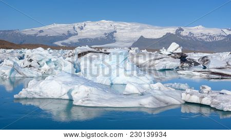 Beautiful View Of Icebergs In Jokulsarlon Glacier Lagoon, Iceland, Global Warming Concept