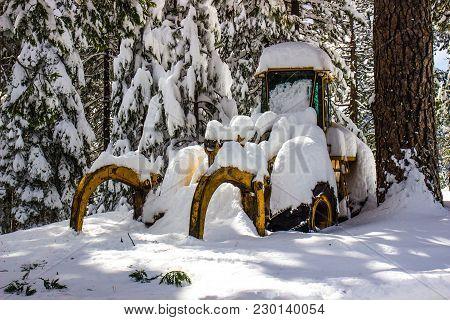 Yellow Bulldozer Buried Under Heavy Wet Snow