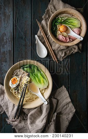 Set Of Asian Dish Udon Noodles With Boiled Egg, Sesame, Mushrooms, Boc Choy, Sous Vide Pork Meat Ser