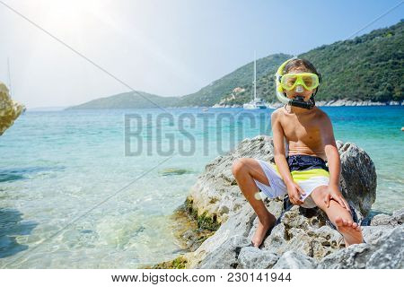 Beach Vacation Snorkel Boy Snorkeling With Mask.