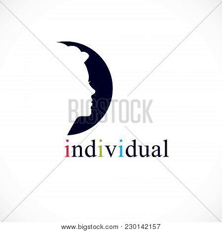 Individuality Concept Vector Logo Or Icon, Woman Face Profile Over Dark Circle, Vector Design.