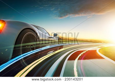 3d Rendering Of A Brand-less Blue Sport Car With Light Effect And Motion Blur . City Skyline Backgro