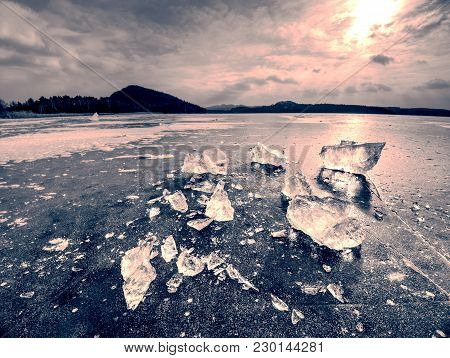 Shining Broken Ice. Abstract Still Life Of Ice Floes. Wind, Temperature Differences, Frost And Sun I