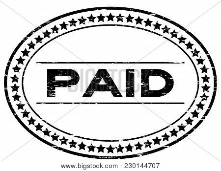 Grunge Black Paid Oval Rubber Seal Stamp On White Background