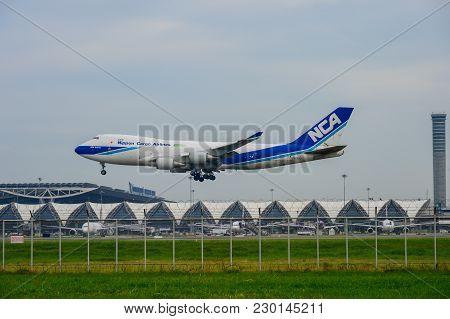 Bangkok, Thailand - July 30, 2017: Nippon Cargo Airlines Plane Landing To Runways At Suvarnabhumi In