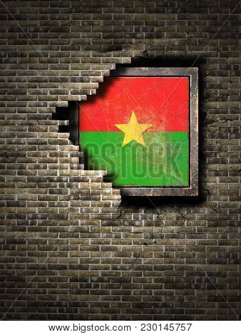 3d Rendering Of A Burkina Faso Flag Over A Rusty Metallic Plate Embedded On An Old Brick Wall