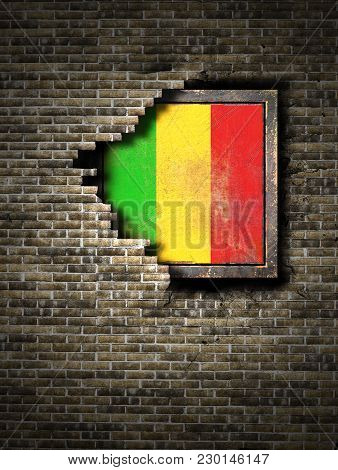 3d Rendering Of A Mali Flag Over A Rusty Metallic Plate Embedded On An Old Brick Wall