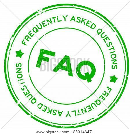Grunge Green Faq (abbreviation Of Frequently Asked Questions) Round Rubber Seal Stamp On White Backg