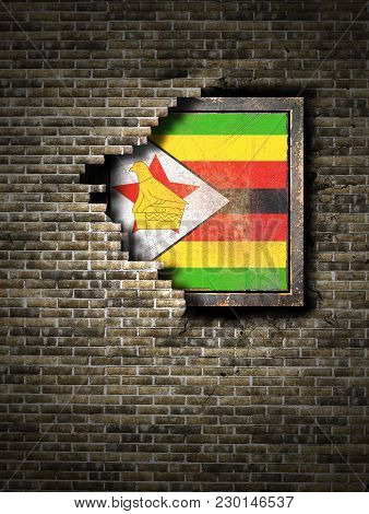 3d Rendering Of A Republic Of Zimbabwe Flag Over A Rusty Metallic Plate Embedded On An Old Brick Wal