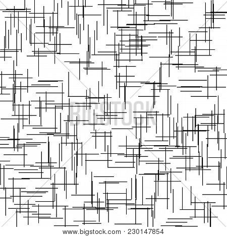 Asymmetrical Texture With Intersecting Vertical And Horizontal Lines, Abstract Geometric Pattern. Bl